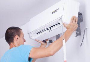 véranda en été et climatiseur
